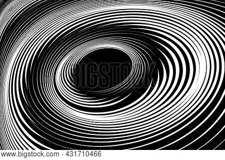 Vortex Swirl Movement. Abstract Textured Black And White Background. Vector Art.
