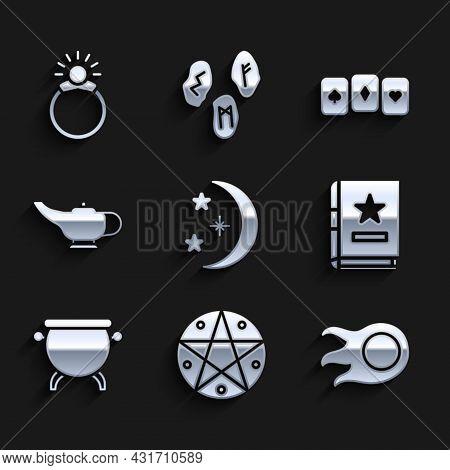 Set Moon And Stars, Pentagram In Circle, Fireball, Ancient Magic Book, Witch Cauldron, Magic Lamp Or