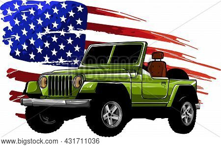 Military Car With American Flag Vector Illustration