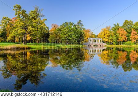 Sightseeing Of Saint Petersburg. Marble Bridge And Catherine Park, Beautiful Autumn Landscape, Pushk