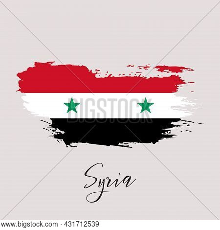 Syria Vector Watercolor National Country Flag Icon. Hand Drawn Illustration With Dry Brush Stains, S