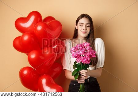 Romantic Girlfriend Smelling Roses, Receive Flowers From Lover On Valentines Day, Standing Near Red