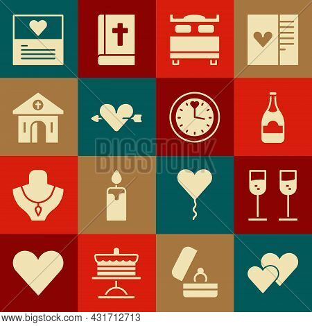Set Heart, Glass Of Champagne, Champagne Bottle, Bedroom, Amour With Heart And Arrow, Church Buildin