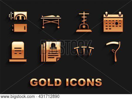 Set Death Certificate, Calendar Death, Scythe, Metallic Nails, Grave With Tombstone, Cross, Cremator