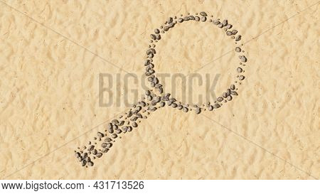 Concept conceptual stones on beach sand handmade symbol shape, golden sandy background, sign of magnifying glass. 3d illustration metaphor for science, research, fun, games and  exploration