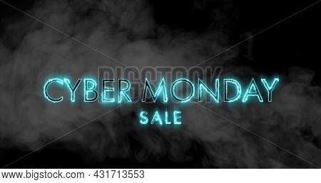 Image of the words Cyber Monday Sale in blue letters with clouds of smoke on a black background 4k