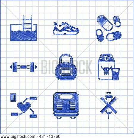 Set Kettlebell, Bathroom Scales, No Doping Syringe, Paper Package For Milk, Attention To Health Hear