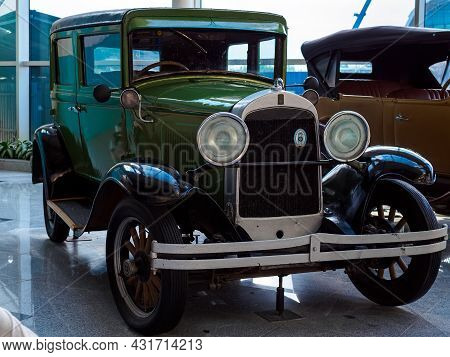 Moscow, Russia - May 26, 2021: Green Antique Car At The Exhibition Of Retro Cars At Domodedovo Airpo