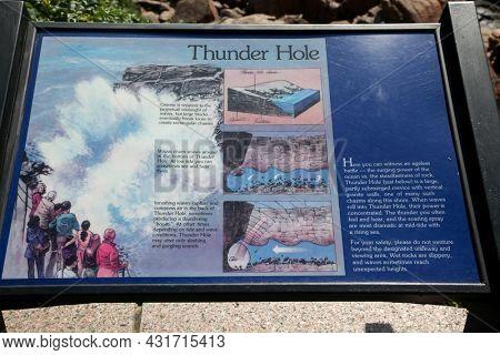 BAR HARBOR, MAINE, USA - JULY 07, 2013: Informative sign near Thunder Hole for Acadia NP visitors