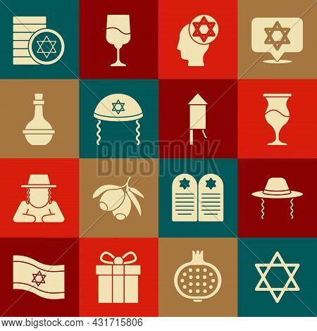 Set Star Of David, Orthodox Jewish Hat, Jewish Goblet, Kippah, Wine Bottle, Coin And Firework Rocket