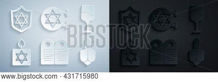 Set Tombstone With Star Of David, Jewish Goblet, Burning Candle, Hanukkah Dreidel, Synagogue And Shi