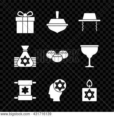 Set Gift Box, Hanukkah Dreidel, Orthodox Jewish Hat, Torah Scroll, Burning Candle, Jewish Money Bag