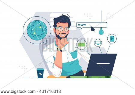 Web Education And Computer Science Vector Illustration. Specialist In Front Of Laptop Device Flat St