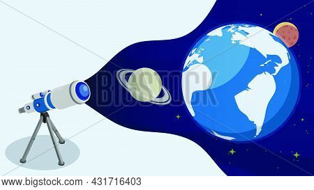 Telescope Is Watching Satellites On Orbit Around Planet Earth In Space. Satellite Communication And