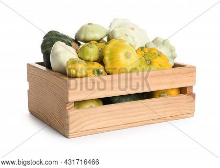 Fresh Ripe Pattypan Squashes In Wooden Crate On White Background