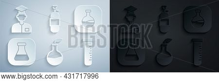 Set Plant Breeding, Test Tube And Flask, Propane Gas Tank And Laboratory Assistant Icon. Vector