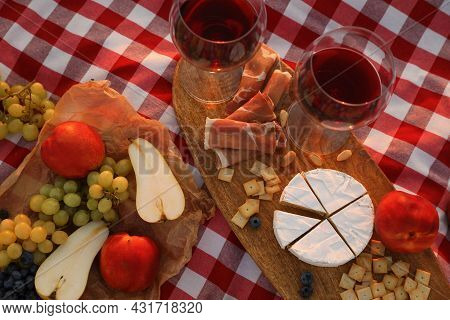 Wine And Snacks On Picnic Blanket, Flat Lay