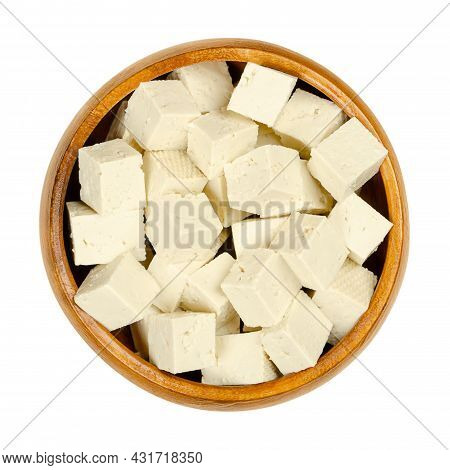 Cubes Of White Tofu, In A Wooden Bowl. Diced Bean Curd, Coagulated Soy Milk, Pressed Into White Bloc