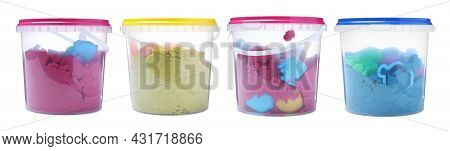 Set With Kinetic Sand And Toys In Buckets On White Background. Banner Design