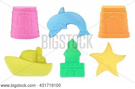 Set With Different Figures Made Of Colorful Kinetic Sand On White Background