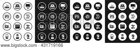 Set Computer Monitor Screen, School Backpack, Postal Stamp, Gamepad, Book, Waistcoat, Robot And Icon