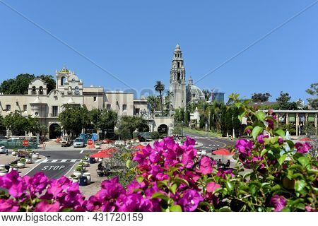SAN DIEGO, CALIFORNIA - 25 AUG 2021: Mingei International Museum and the Museum of Us in Balboa Park.