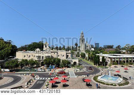 SAN DIEGO, CALIFORNIA - 25 AUG 2021: Mingei International Museum, Plaza de Panama and the Museum of Us in Balboa Park.