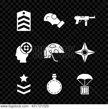 Set Chevron, Gas Mask, Submachine Gun M3, Military Rank, Canteen Water Bottle, Airdrop Box, Target S