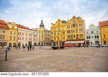 Plzen, Czech Republic - 22.08.2021: People On Main Square Of Old Town Plzen In Czech Republic