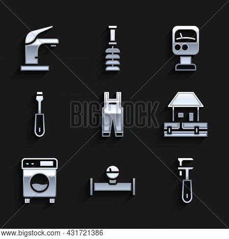 Set Work Overalls, Industry Pipe And Manometer, Pipe Adjustable Wrench, Water Supply Pipes, Washer,