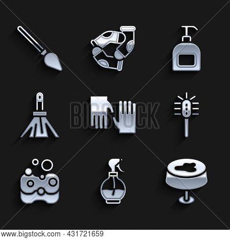 Set Rubber Gloves, Water Spray Bottle, Stain On The Tablecloth, Toilet Brush, Sponge, Handle Broom,