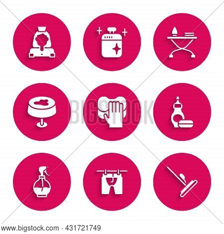 Set Cleaning Service, Drying Clothes, Mop, Dishwashing Liquid Bottle, Water Spray, Stain On Tableclo