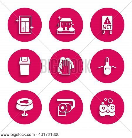 Set Cleaning Service, Toilet Paper Roll, Sponge, Kitchen Apron, Stain The Tablecloth, Trash Can, Wet