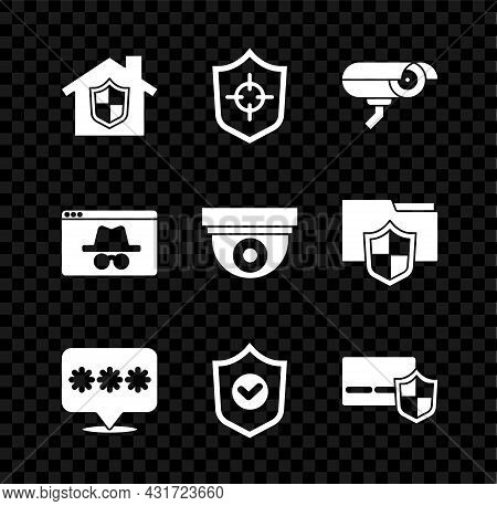 Set House Under Protection, Shield, Security Camera, Password, With Check Mark, Credit Card Shield,
