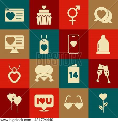 Set Heart Shape In Flower, Glass Of Champagne, Condom, Gender, Tag, Dating App Online, And Online Da
