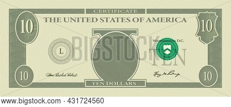 Voucher Template Banknote 10 Dollars With Guilloche Pattern Watermarks And Border. Green Background
