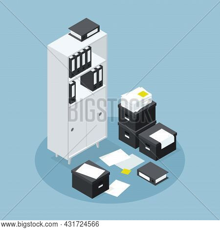 Isometric Office Room Cupboard For Paper Documents Storage Vector Illustration. Wooden Furniture Wit
