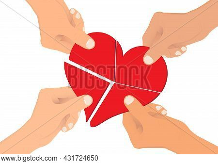 Hands Connecting Pieces Of Red Heart Together, Concept Of Sharing Love To People Vector Illustration