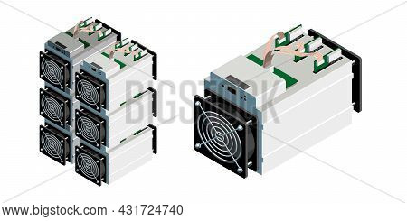 Asic Miner. Asic Mining Vector Illustration. Bitcoin Mining. Application Specific Integrated Circuit