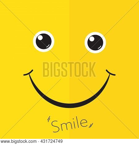 Happy Cheerful Face Icon On Yellow Background Vector Illustration