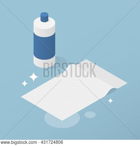 Isometric Home Cleaning Supplies Vector Illustration. Plastic Bottle With Sanitizer And Tissue Rag F