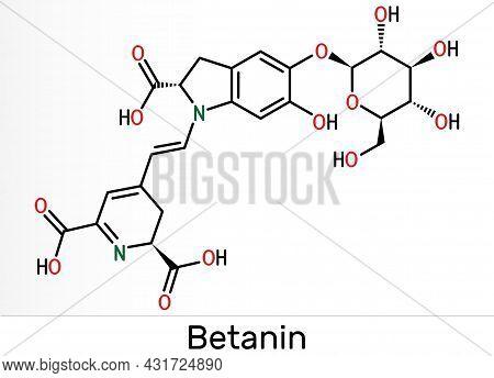 Betanin, Molecule. It Is Betalain Plant Pigment, Red Glycosidic Food Dye, E162. Skeletal Chemical Fo