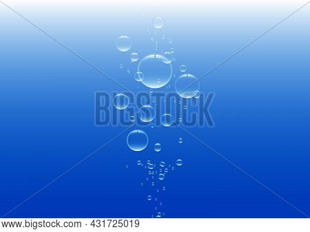 Blue Glossy Bubbles In Water Vector Illustration