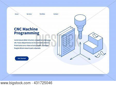 Cnc Machine Programming Landing Page Concept Isometric Vector Illustration. Industrial Automatic Con