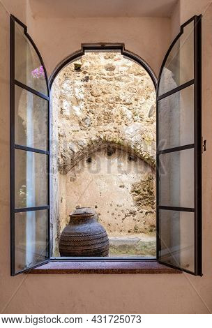 Naples, Ischia, Italy - July  05 2021: Window Overlooking The Courtyard Of The Aragonese Castle Of I