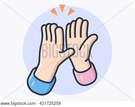 High Five Hands, Friendly Greetings To Friendly Partners, Great Results, Vector Design, Flat And Iso