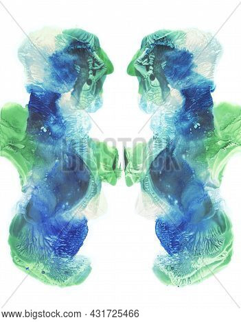 Card Of A Multicolor Rorschach Inkblot Test. Watercolor Picture. Abstract Background. Colorful Image
