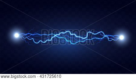 Lightning Flash Effect. Realistic Electric Lightning, Abstract Background In The Form Of Lightning.