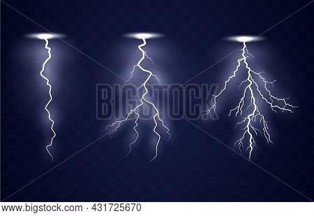 Lightning Flash Bolt. Blue Lightning Template. Thunderbolt Isolated On Dark Background. Electric Lig