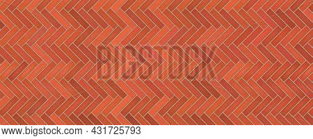 Red Brick Wall Herringbone Pattern Texture Abstract Background Vector Illustration